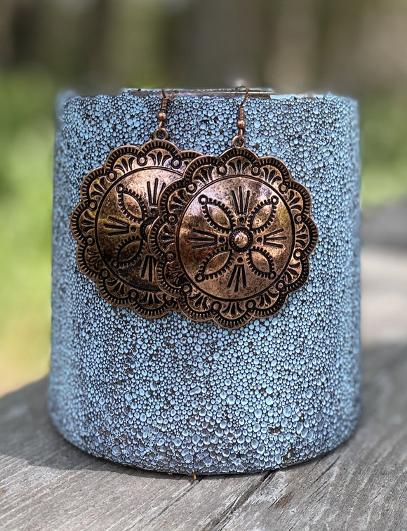 Round Coppertone Concho Earrings