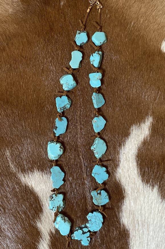 Flat Turquoise Stone Necklace with Leather Ties