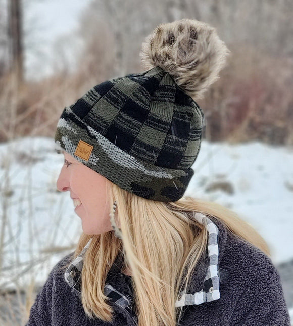 Green Camo Winter Hat with Fur Pom