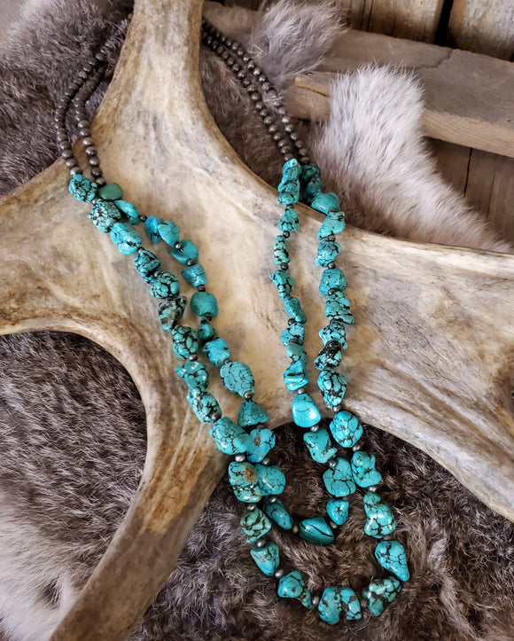 Turquoise and Navajo Bead Double Strand Necklace