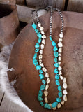 Buffalo Stone and Turquoise Navajo Bead Necklace
