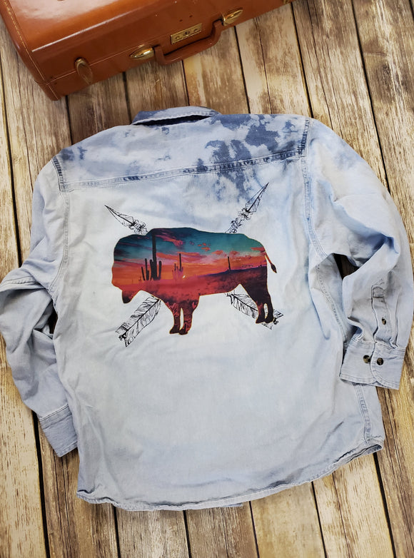 Acid Wash Denim Buffalo Top