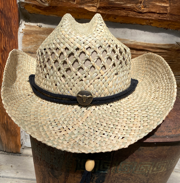 Seagrass Cowboy Hat with Chin Cord