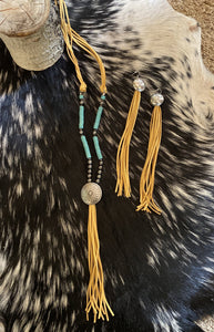 5 Strand Burnished Silver and Turquoise Necklace with Tassel