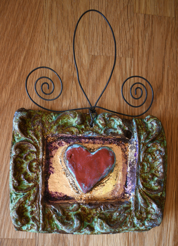 Framed Heart Stone Decor