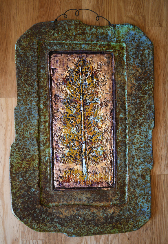 Golden Aspen Stone Wall Art