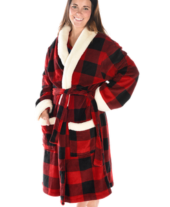 Ladies Buffalo Check Fleece Robe