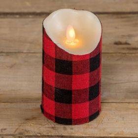 Buffalo Plaid Moving Flame Candle