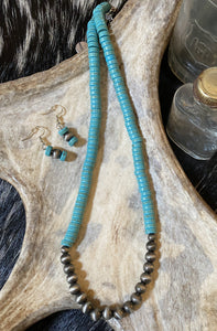 Turquoise Disc Bead and Navajo Pearl Necklace and Earrings Set