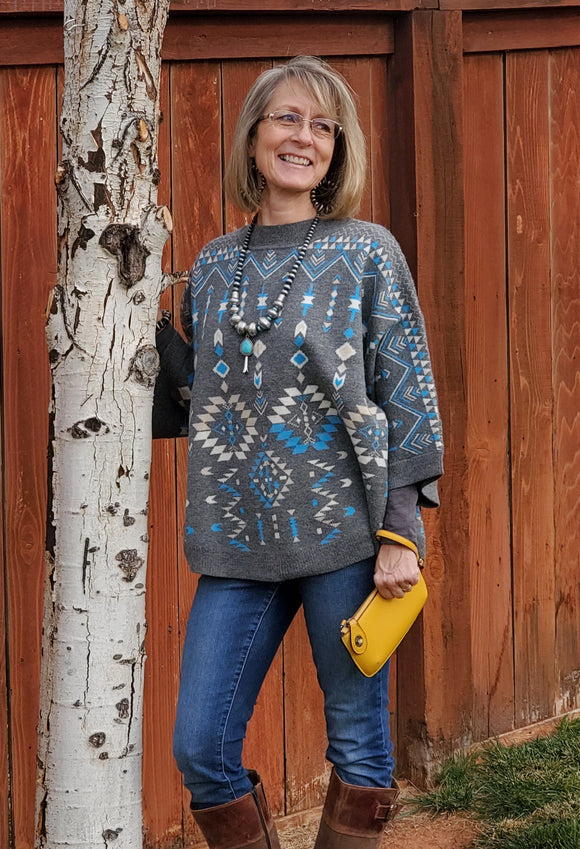 Winter Mist Poncho Sweater