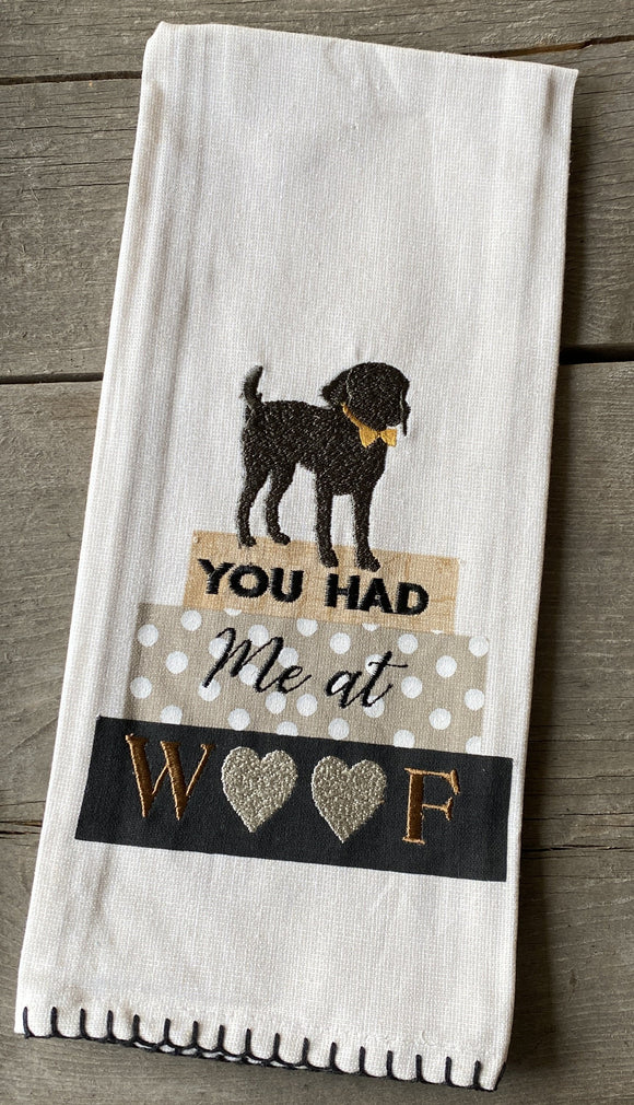 You had me at WOOF tea towel