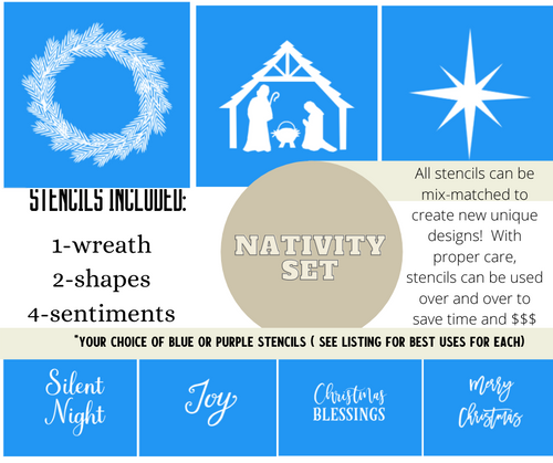 Christmas Ornament Stencil Bundle KIT- Nativity