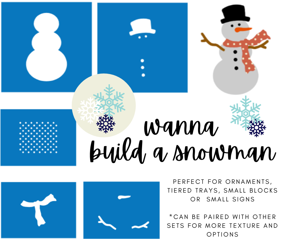 Christmas Ornament Stencil Bundle -Wanna Build a Snowman