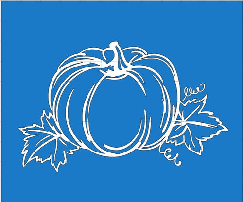 Fall Pumpkin with Leaves Sketch Reusable Stencil