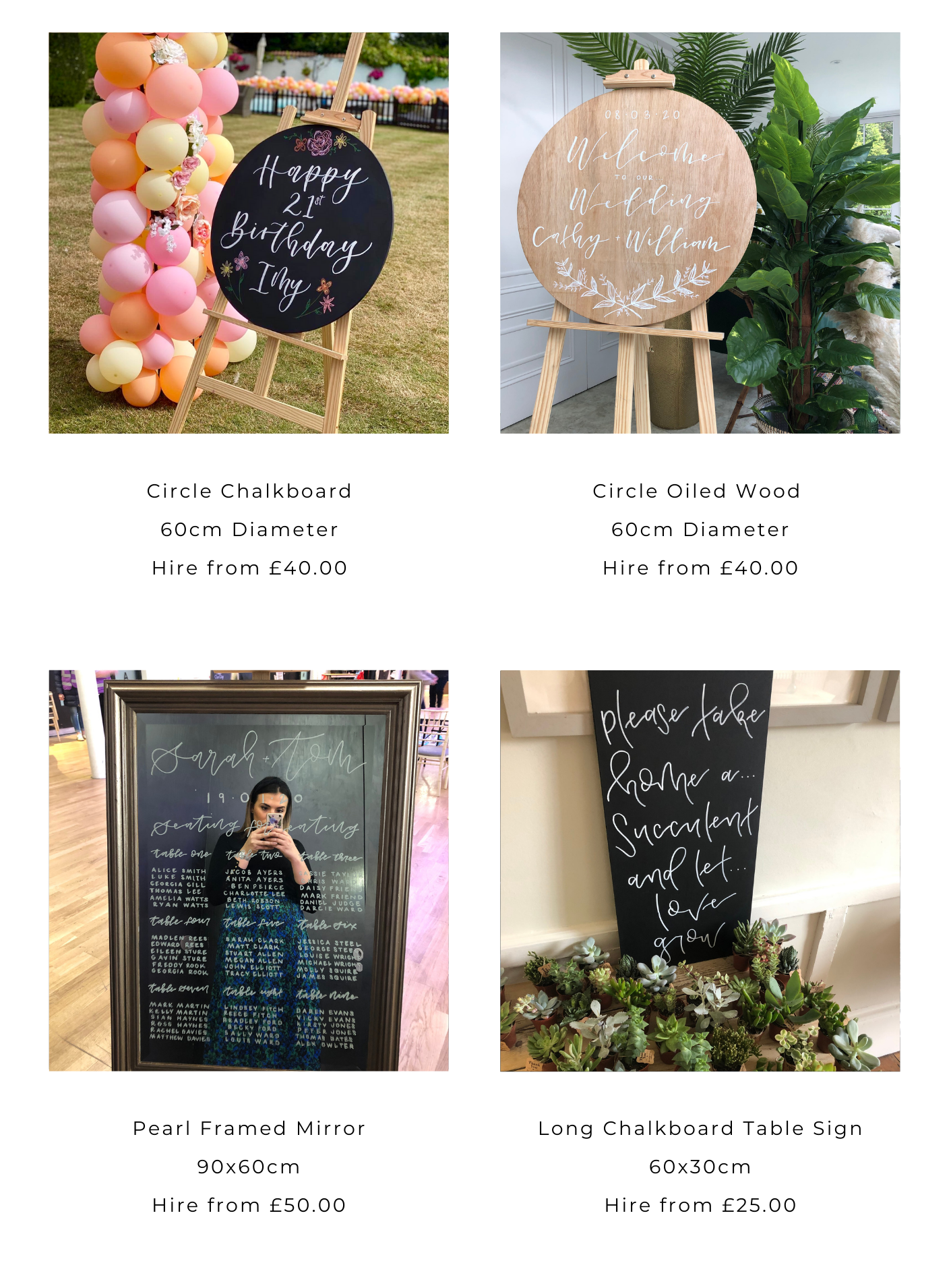 Hire Directory, Signs from Boards By Jess to Hire for Weddings And Events