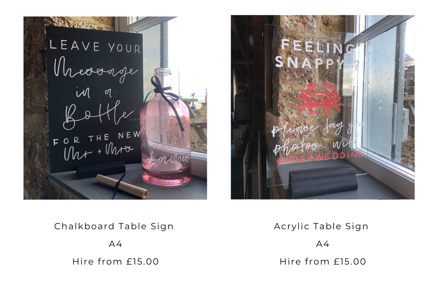 Signage Catologue for Bespoke Calligraphy for Weddings and Events