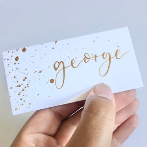 Tent Fold Speckle Name Place Card