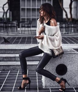 Casual Loose Oversize Round Neck Distressed Knit Sweater