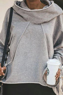 Chic Casual Oversize Flare Sleeves Plain Hoodie