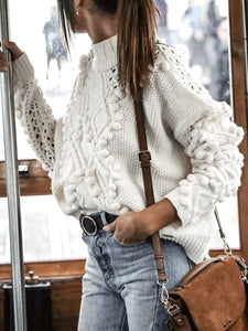 Casual High Collar Long Sleeves Loosen Plain Sweater