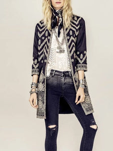 Printed Color Long Sleeve Coat