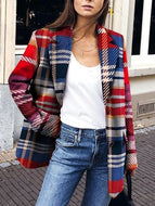 Casual Turndown Collar Plaid Long Sleeve Coat