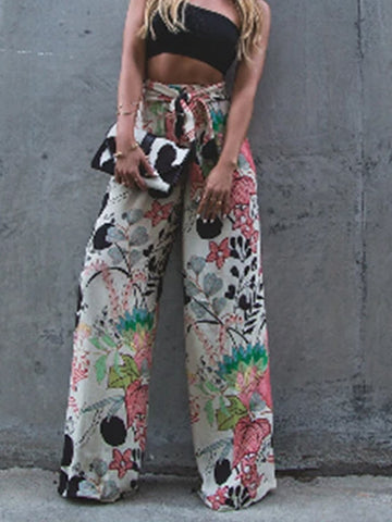 Embroidered  Belt  Print  Casual Pants
