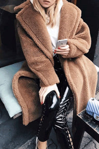 Classic Fashion Wide Lapel Long Sleeves Faux Fur Coat