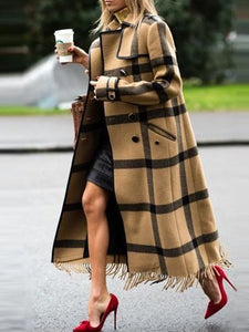 Chic Casual Color Block Plaid Lapel Long Coat