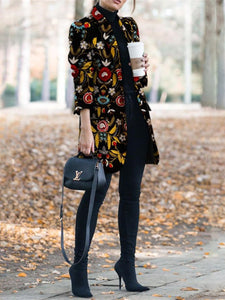 Autumn And Winter   Fashion Printed Long-Sleeved Suit Jacket