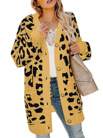 Casual Leopard Print Pockets With Buttons Sweater Cardigan