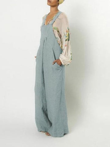 Casual Style Cotton and linen Suspender Pocket Jumpsuit