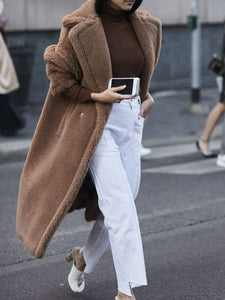 Casual Fashion Wide Lapel Loosen Long Woolen Coat