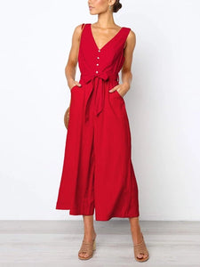Commuting V Neck Plain Belted Jumpsuits
