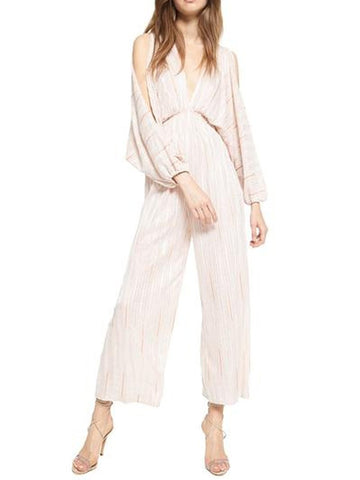 Casual V Neck Long Sleeve Pure Colour Jumpsuits