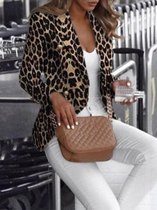 fashion suit collat leopard print long sleeves blazer