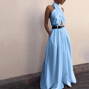 Casual Sexy Sling Off The Shoulder Backless Pure Color Jumpsuits