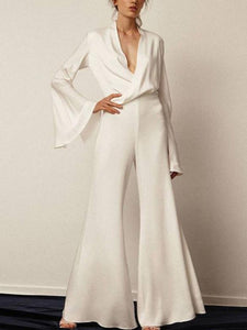 Casual Sexy V-Neck Pure Color Jumpsuits