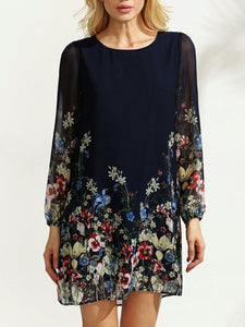 Casual Floral Printed Hollow Out Chiffon Casual Dress