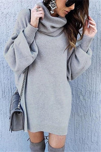 Casual Loose Long High Collar Knitting Sweater Dresses