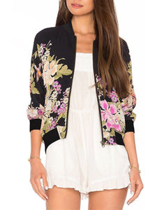 Band Collar Floral Printed Jacket