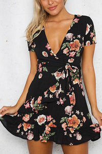 Deep V Neck  Belt  Floral Printed  Short Sleeve Casual Dresses