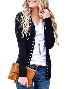 Solid Color V-Neck Long Sleeve Fashion Button Cardigan