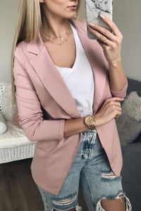 Solid Color Slim Long Sleeve Thin Lapels Jacket