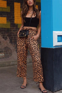 Fashion High Waist Leopard Print Straight Casual Pants