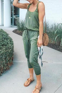 Casual Fashion Slim Plain Linen Sleeveless Braces Jumpsuits
