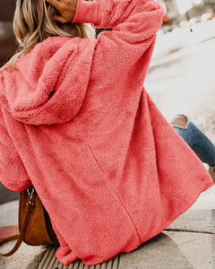 Autumn And Winter Even The Cap Long-Sleeved Cardigan Pocket Warm Jacket