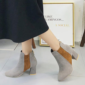 Color Block  Chunky  High Heeled  Velvet  Point Toe  Date Outdoor  Short High Heels Boots