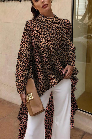 Autumn And Winter   Fashion Color Leopard Irregular Blouse