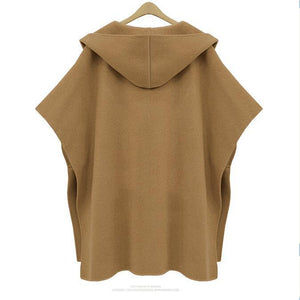 Casual Batwing Sleeves Hooded Plain Oversize Woolen Coat